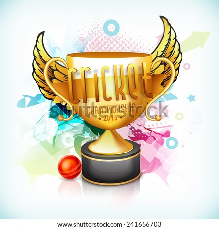 Golden winning trophy with wings, red ball and 3D text for Cricket Championship 2015 on colorful abstract background. - stock vector