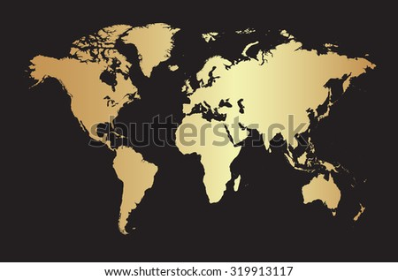 Golden world map.Vector illustration - stock vector
