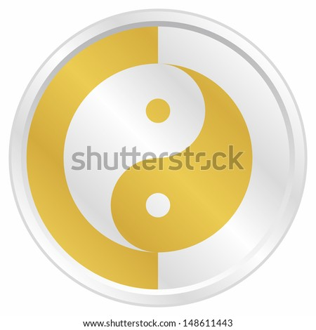Golden ying yan icon - stock vector