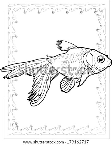 Goldfish coloring page vector art - stock vector