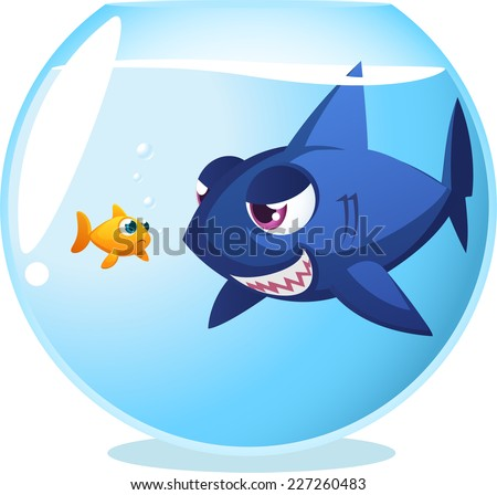 Goldfish fish in danger shark inside fishbowl, seriously dangerous room mate. With big blue shark staring at little cute scared fish both inside fishbowl, vector illustration. - stock vector
