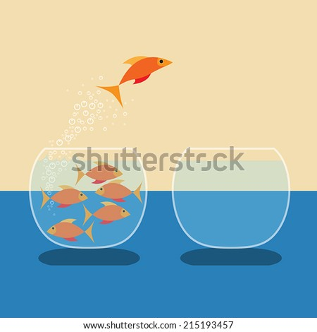 Goldfish jumping out of water. Vector flat design - stock vector