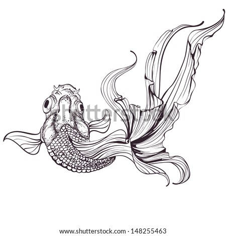 Goldfish sketch on white background - stock vector