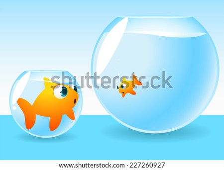 Goldfish too big for its bowl looking at another one living a in a bigger place. - stock vector