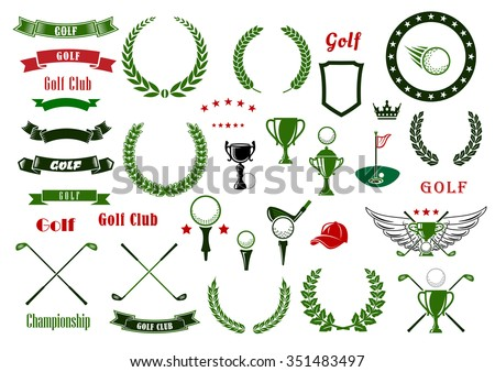 Golf and golfing sport design elements with balls and crossed clubs, green area with hole and flag, trophy cup, laurel wreaths and star frame, heraldic shield and ribbon banners, crown and wings - stock vector