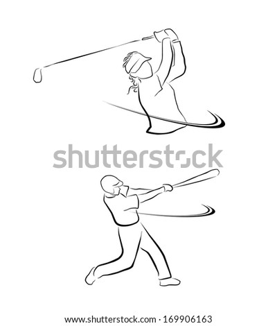 Golf And Softball Sport Symbol Collection - stock vector
