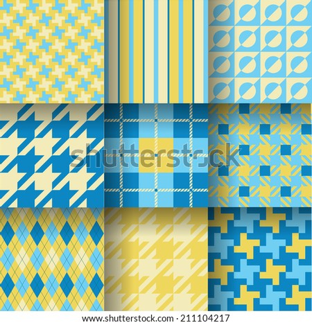 Golf backgrounds. Seamless pattern background with blue, grey and yellow color. Vector illustration. Pattern Swatches made with Global Colors - quick, simple editing of color. EPS 10 - stock vector