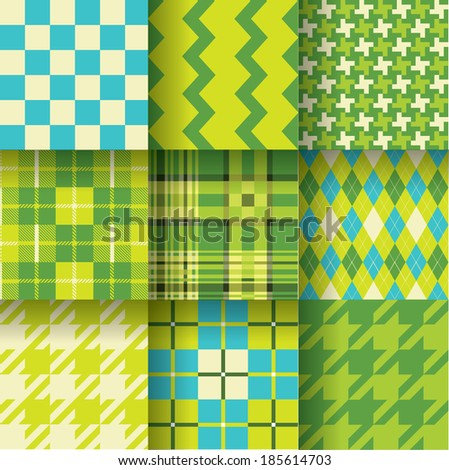 Golf backgrounds. Seamless pattern background with green & blue colors. Pattern Swatches made with Global Colors - quick, simple editing of color. EPS-10. Vector illustration - stock vector