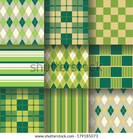 Golf backgrounds. Seamless pattern background with green, yellow and grey colors. Vector illustration EPS-10 . Pattern Swatches made with Global Colors - quick, simple editing of color - stock vector
