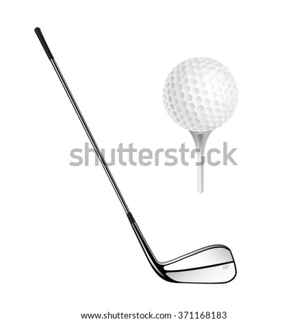 Golf ball and golf stick isolated on the white. Vector sport items as design elements. - stock vector