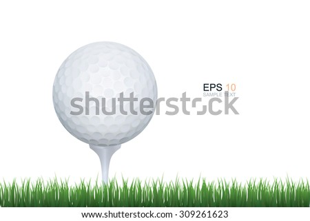 Golf ball and green grass isolated on white background with area for copy space. Vector sport graphic idea. - stock vector