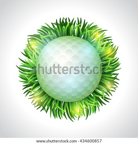Golf ball and green grass. Realistic vector illustration. Golf design. Sport background. Time to play golf - stock vector