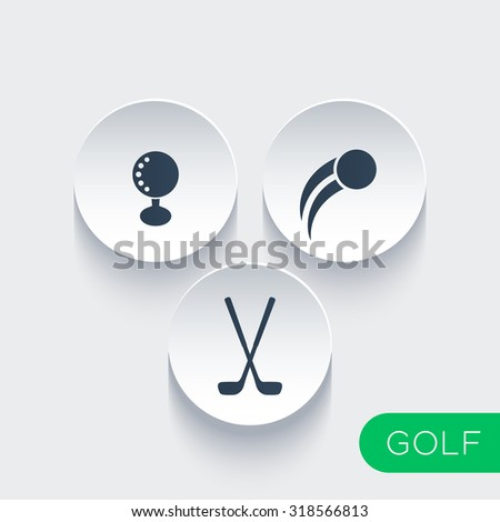 Golf ball, golf clubs, golf icons on round 3d shapes, vector illustration - stock vector