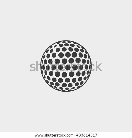 Golf ball icon in a flat design in black color. Vector illustration eps10 - stock vector