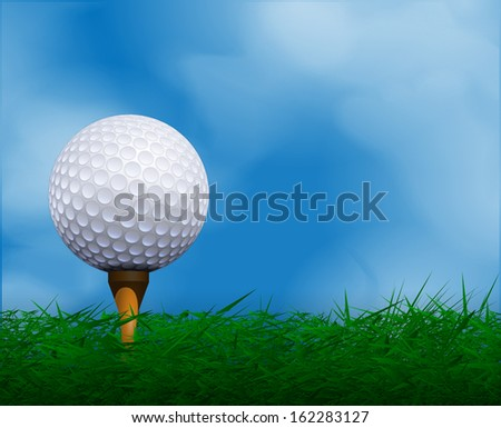 Golf ball in front of sky. Golf background. - stock vector