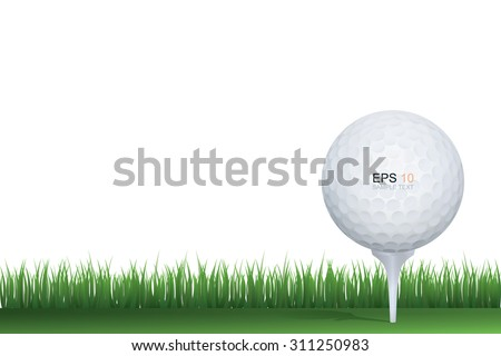 Golf ball in green grass of golf course with white area for text and create graphic design. - stock vector