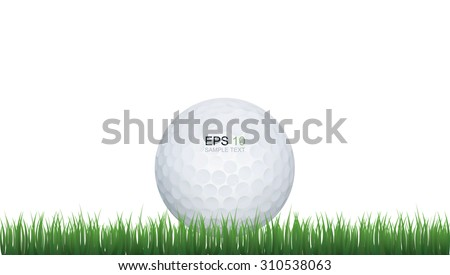 Golf ball in green grass of golf course with white area for text and create graphic idea. - stock vector