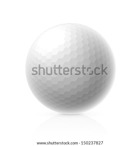 Golf ball isolated on white background. Vector illustration - stock vector