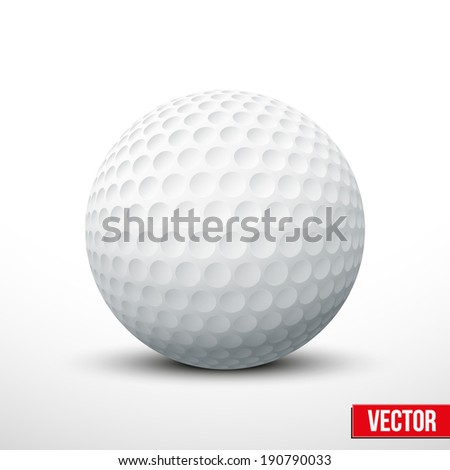 Golf ball isolated on white. Traditional color. Realistic Vector illustration. - stock vector
