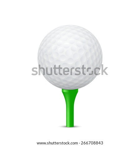 Golf ball on a green tee, isolated. Vector EPS10 illustration.  - stock vector