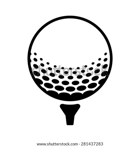 Golf ball on a tee line art icon for sports apps and websites - stock vector