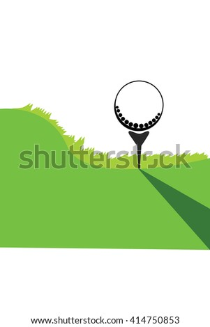 Golf ball on green grass - stock vector