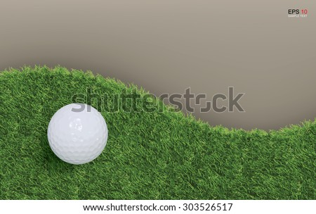Golf ball on green grass background of golf course. Vector illustration. - stock vector