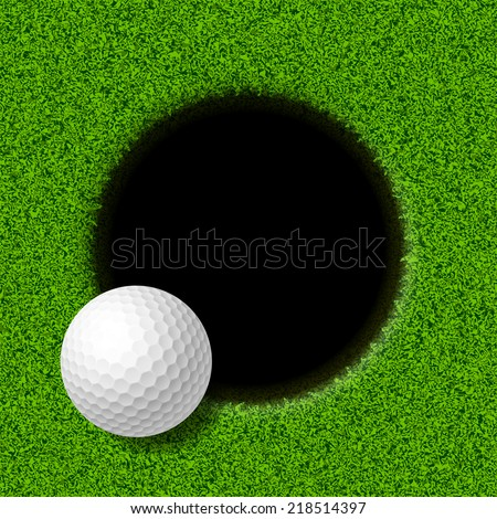 Golf ball on lip of cup. Vector illustration. - stock vector