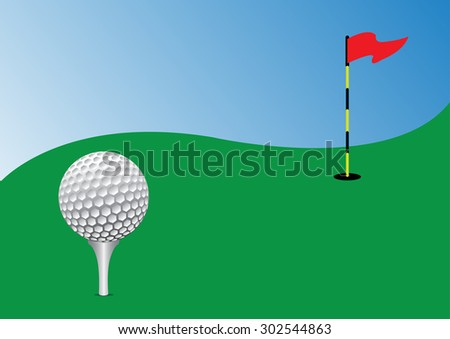 golf ball on tee in the green course. vector illustration - stock vector