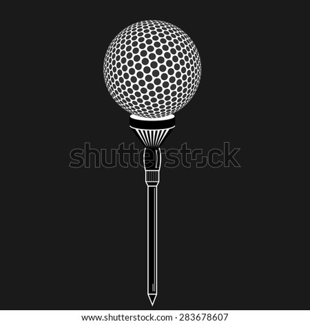 Golf ball on tee realistic vector illustration. Vector golf ball on black background. Golf tee of Engraving style with ball - stock vector