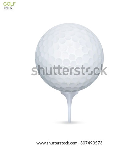 Golf ball on white tee. Vector sport object for graphic idea. - stock vector