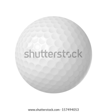 Golf ball over white isolated vector illustration - stock vector