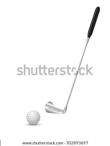 golf ball with pattern and club vector object illustration  - stock vector