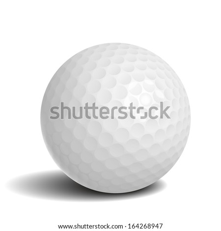 Golf ball with shadow vector illustration - stock vector