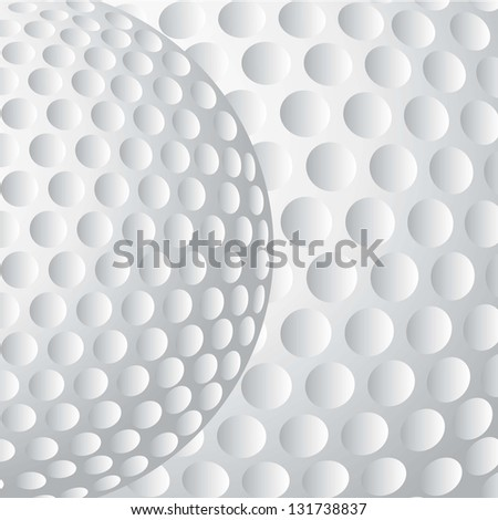 golf ball with texture background, close up. vector illustration - stock vector