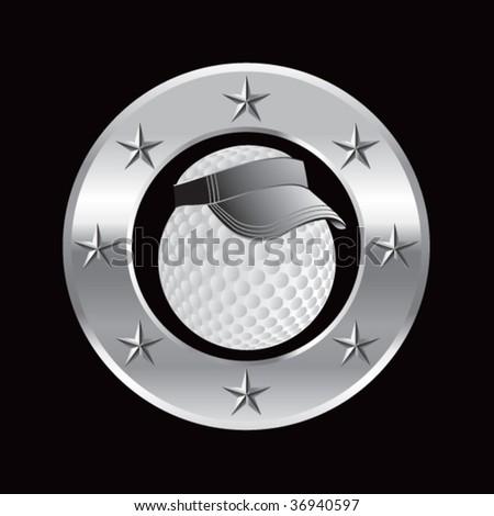 golf ball with visor circle ring - stock vector