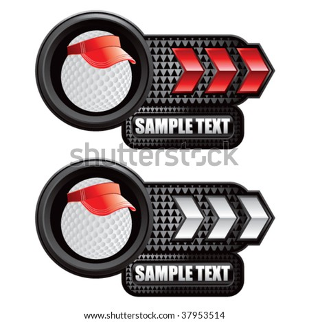 golf ball with visor on red and white arrows - stock vector