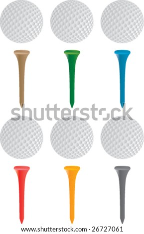 golf balls and tees - stock vector