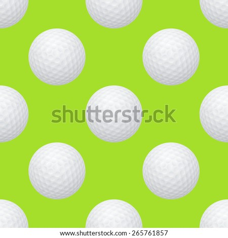 Golf balls. Seamless pattern on a green background. Vector EPS10 illustration.  - stock vector