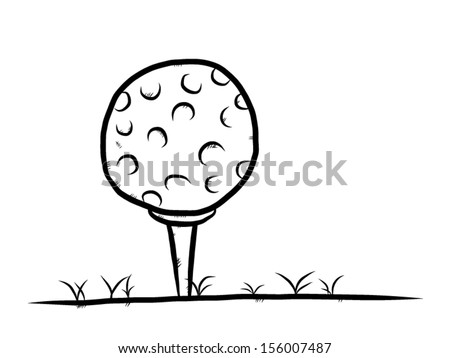 golf boll on grass ground / cartoon vector and illustration, hand drawn, sketch style, isolated on white background. - stock vector