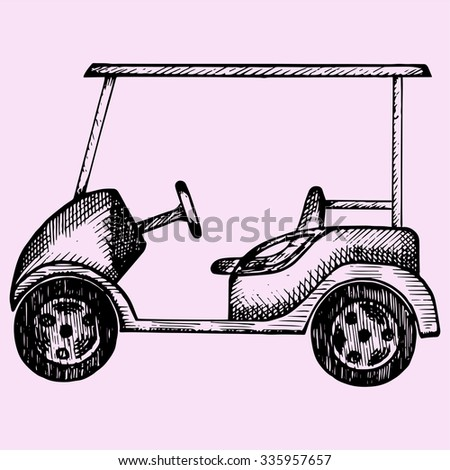 Golf cart, doodle style, sketch illustration, hand drawn, vector - stock vector