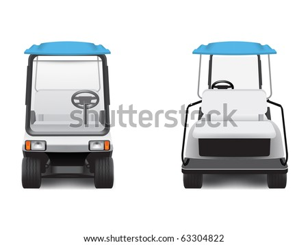 Golf cart, front and rear views. - stock vector