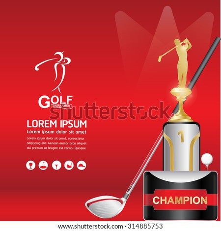 Golf Championship Vector Trophies and Golf Element  on Red Background - stock vector