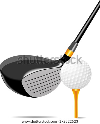 golf club and ball vector - stock vector