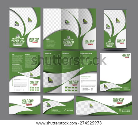 Golf Club Business Stationery Set Template. - stock vector