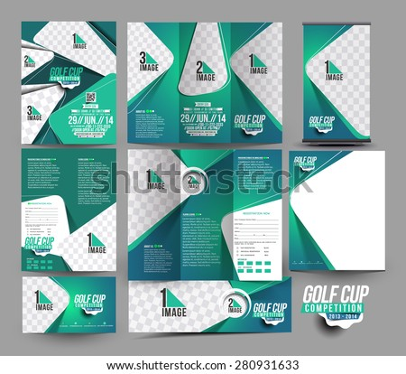 Golf Club Business Stationery Set Template  - stock vector