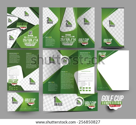 Golf Club Stationery Set Template  - stock vector