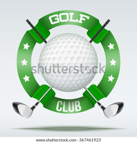 Golf clubs and ball with ribbons. Sporting symbol. Vector Illustration isolated on white background. - stock vector