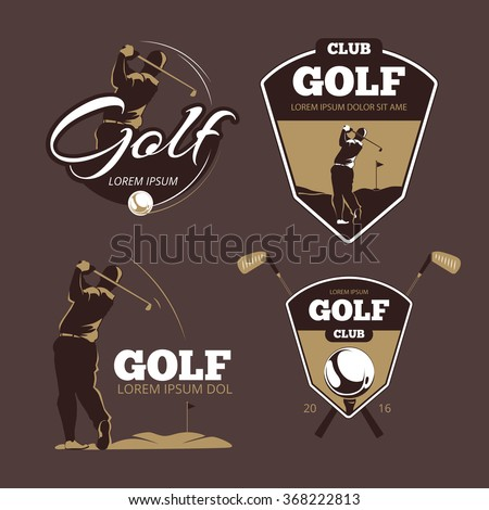 Golf country club vector logo templates. Sport with ball label, icon game illustration - stock vector
