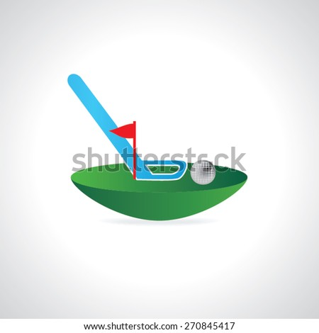 golf course concept ball with flag and stick vector illustration  - stock vector
